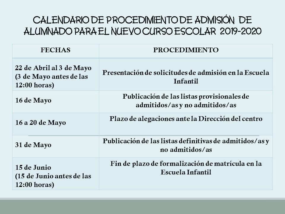 Calendario Escolar Asturias 2020 2019.Calendario Matriculas Escuela 0 A 3 Para El Curso 2019 2020